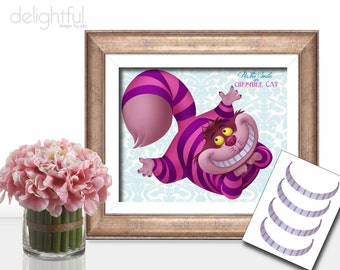 Instant Download Alice in Wonderland Pin the Smile on Cheshire Cat Poster (2 sizes) Pin the Grin Party Printable Party Game