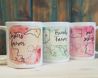 Long distance mug, state mug, Best friend gift, going away gift, state to state, sister gift