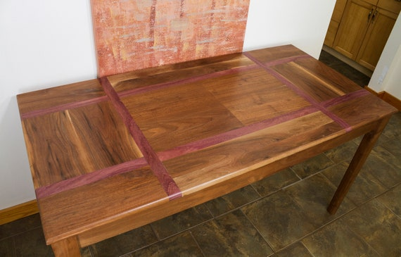 Purple Heart And Black Walnut Custom Dining Table Or Desk | Etsy