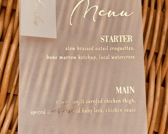 Menu with place setting place card vellum translucent gold foil rose gold