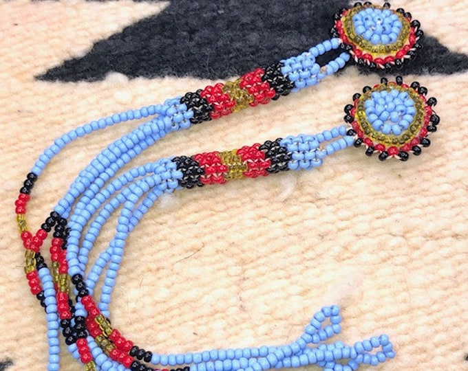 Vintage Native American Jewelry Medallion Beaded Long Dangle Earrings