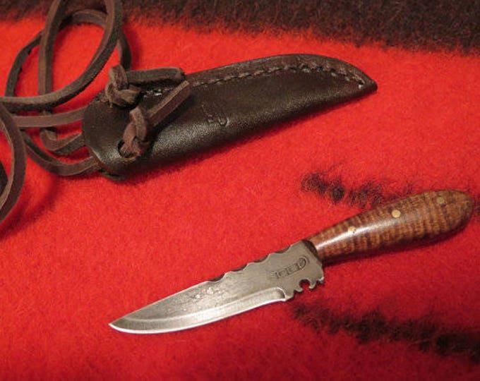SALE- Native American  Knife Abenaki Custom Made Neck Knife Forged High Carbon Steel w/Tiger Maple Handle w/Custom Leather Sheath