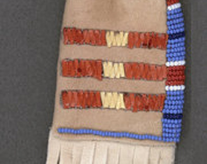 Native American handmade Quilled Pouch & Beaded Paint bag (Brain-Tanned) Flathead Reservation