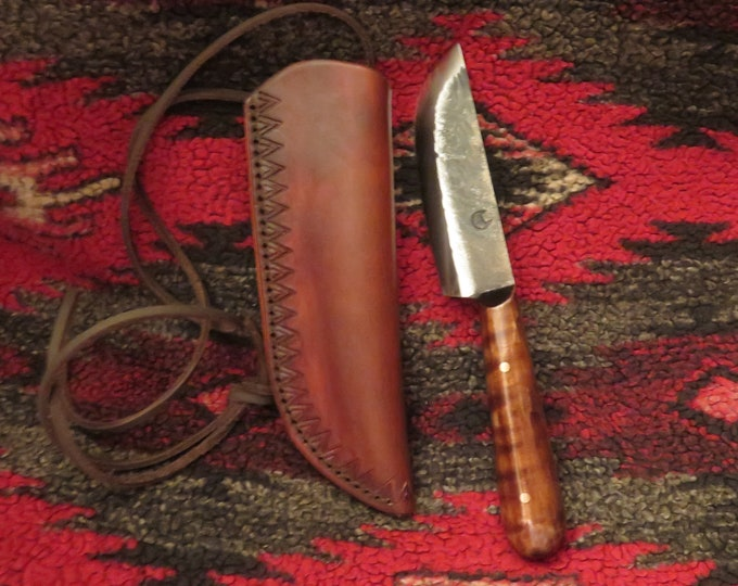 Limited Time Offer-Native American Custom Trade French Survivalist Neck Knife Hand Forged & Leather Sheath used as Neck and Belt Loop Sheath