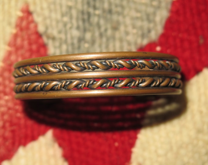 3 Vintage Native American solid copper bracelets stamped w/tribal designs Braided and Chained linked Tribal bracelets selling all 3 together