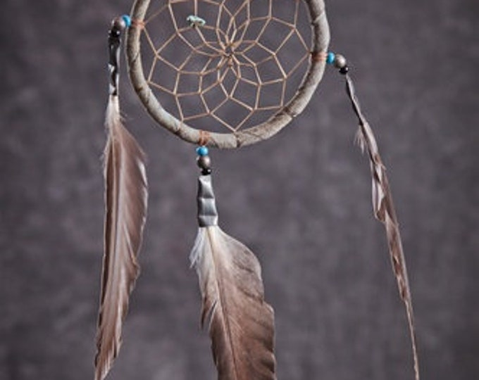 "Native American made 3"" Dream Catcher Perfect Size to Hang on Auto Mirror Genuine Historically made with materials used close as to original"