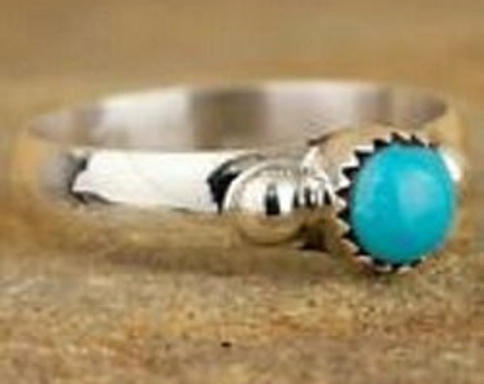New Navajo Native American Sterling Silver Turquoise Ring Size 8.5 JY Ladies Ring