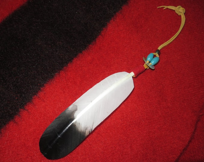 Native American Hair Tie as part of your Mariapia Spirit Regalia Replicated handmade Bald Eagle and Golden Eagle Feather Symbolism and Power