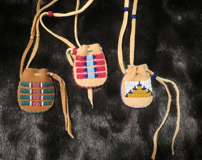 Native American Regalia hand made by the Flathead Nation Beaded Brain-Tanned Leather bags Pouches Medicine Bags Differant Styles