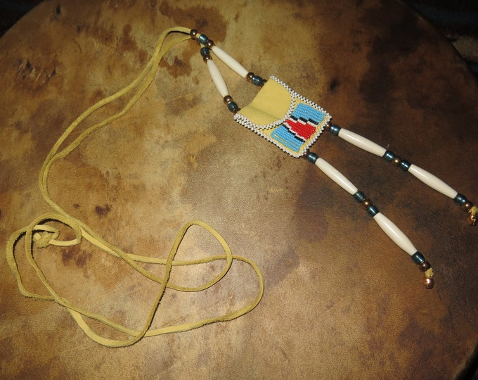 Sale- Medicine Bag Regalia with glass crow beads, brass beads, bone hair pipe beads;