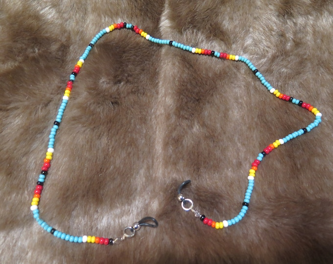 Native American EyeGlass Necklace Holder handmade with Traditional glass multicolor seed beads with Silver & turquoise and Fetishes