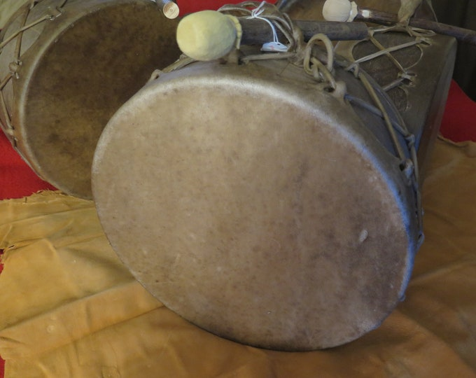 """SALE- Native American 14""""  Bear and Buffalo thick natural hide or Moose Sweat Lodge Drum and Drum Stick Hand made"""