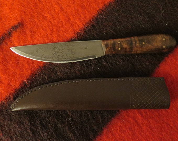 """NATIVE Voyageurs HB Fur Trader's Knife 5"""" Blade with makers Touch mark curly maple 4"""" handle embossed leather welted sheath belt loop"""