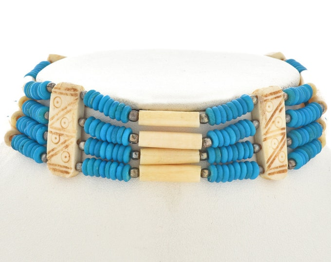 Turquoise Silver Bone Choker Apache Indian Style