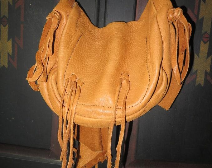 Vintage Native American Handmade Made Deer Skin Flat Purse / Bag