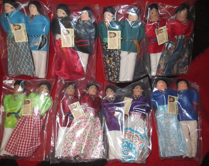 "Native American Navajo made handmade dolls in custom regalia of man and woman sold in pair's cloth dolls approx. 8"" tall Collectors item"