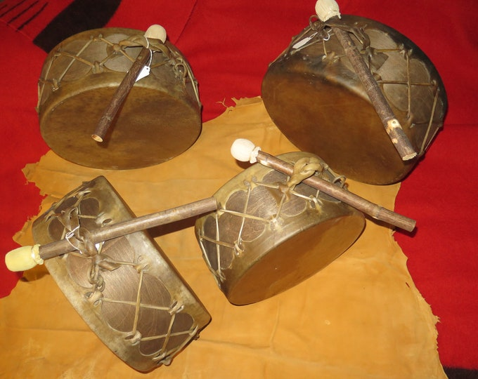 """SALE- Native American 14"""" or 13"""""""" Bear and Buffalo thick natural hide or Moose Sweat Lodge Drum and Drum Stick Hand made"""