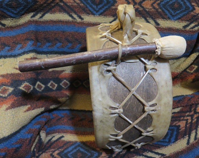 "Native American 14"" Sweat Lodge Drum authentic Native made sweat lodge drum that uses thick natural buffalo hide or moose hide"