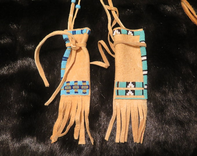 Native American hand made by the Flathead Nation Beaded Brain-Tanned Leather bags Pouches Medicine Bags Differant Styles