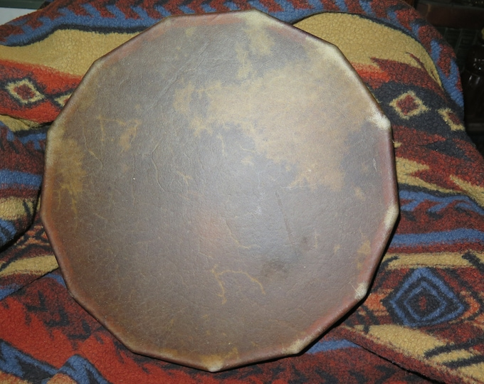 "Sacred Buffalo Native American Spiritual Medicine Drum 16"" 13 Sided Cedar Sacred Drum Representing years 13 moons laced w/Dream Catcher back"