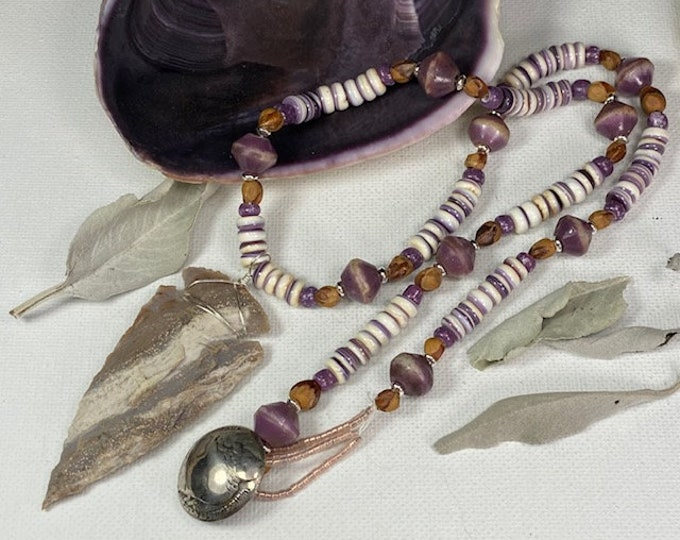 Native American Made Real Wampum Beads with a Authentic Flint Arrow Head arrowhead Necklace is wire wrapped with Sterling silver wire , 20""