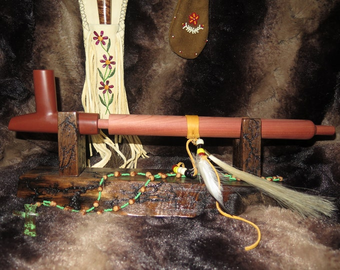 SALE - Native American Plains Indian Catlinite Peace Pipe Bowl w/Stem Ceremonial Pipe Decorated Sacred Cedar Pipe Stem w/wood display stand