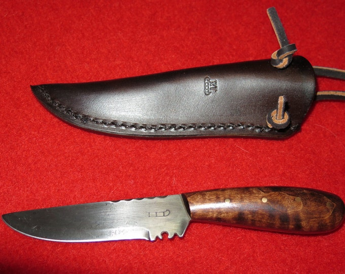 SALE- Native American Knife handmade 1700s Hudson Bay Fur Trade Knife hand-forged collectable Neck Knife with Custom made Leather Sheath