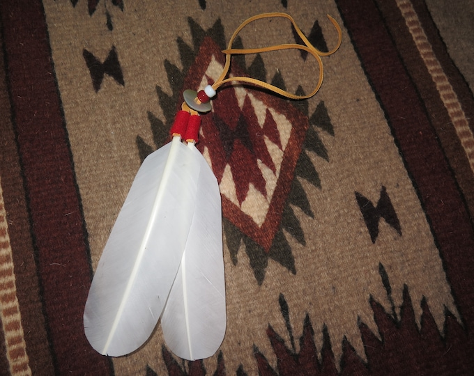 Native American Hair Tie as part of your Spirit Regalia handmade Bald Eagle White Tail Feathers are attached that's the Symbolism and Power