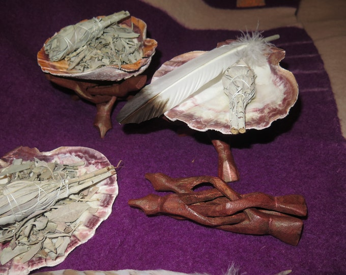 Native Atlantic Large Scallop Shell Smudge Kit, Large Scallop Shell, Snake Wood Stand, & White Sage Smudge Stick with Golden Eagle Feather