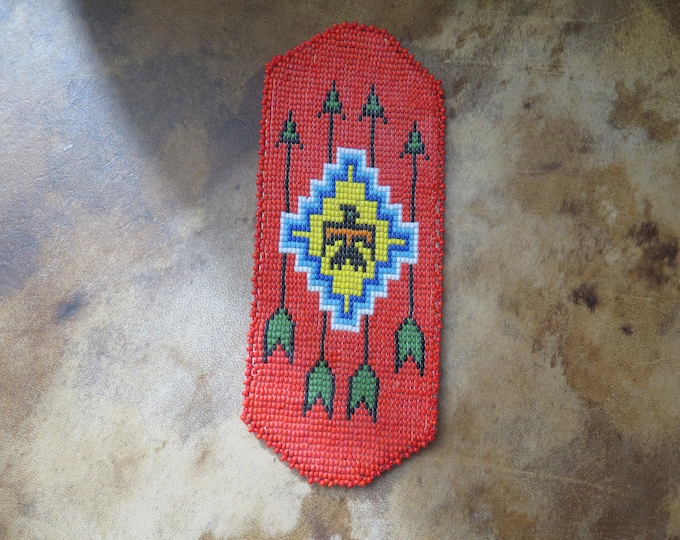 Vintage Rare Native American, Leather Beaded EyeGlasse Case, Navajo, Loom Woven