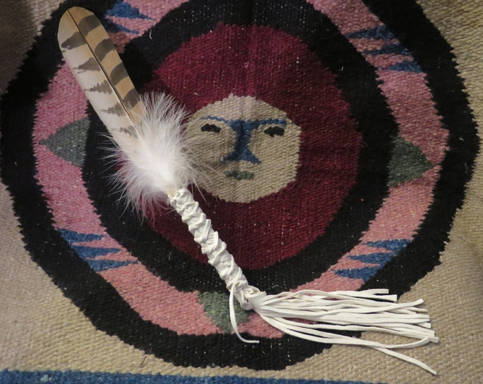 Native American  Feather Custom made Handcrafted  Smudge Fan Snowy Owl Prayer Shaman Medicine Feather Fan
