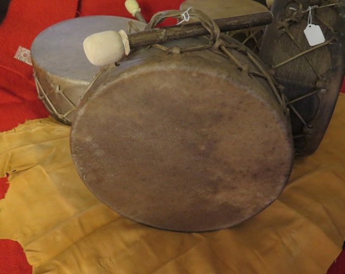 """SALE- Native American 14"""" 13""""and 12"""" Sweat Lodge Drum and Drum Stick Hand made sweat lodge drum thick natural buffalo hide or moose hide"""