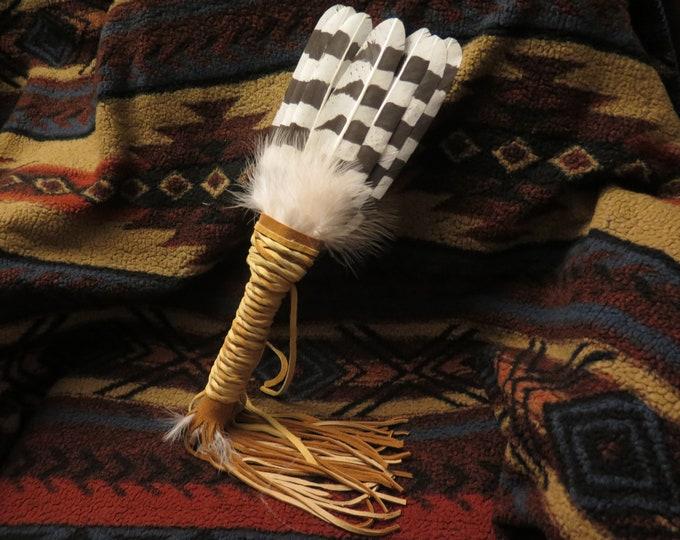 Native American Smudge Fan Handcrafted custom made Snowy Owl Prayer Shaman Medicine Feather Fan w/Talon Claw Foot