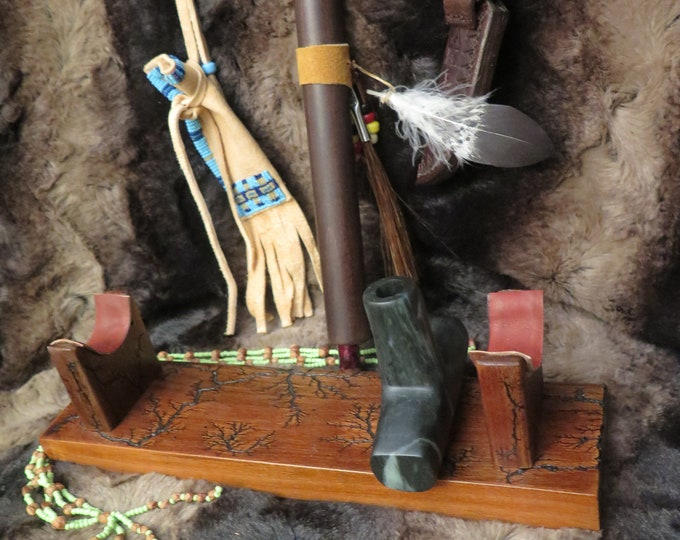 SALE DAY Native American Pipe Plains Indian Pipe Bowl w/Stem Ceremonial Pipestone Pipe Decorated Sacred Cedar Pipe & burl wood display stand