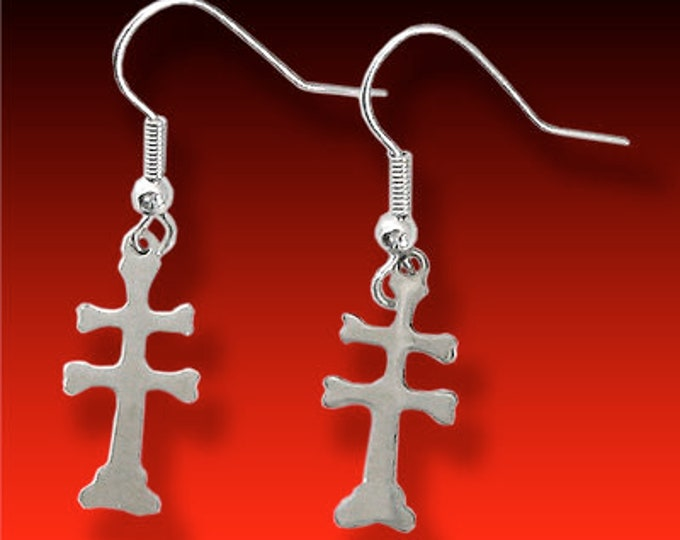 17th Century Trade Era this is for a Pair of Small Crosses of Lorraine German silver Earrings