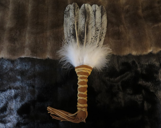 Native American Feather Handcrafted  Custom Made New Handmade Bald Eagle Fan Spiritual Shaman Medicine Smudge Prayer Feather Fan Wand