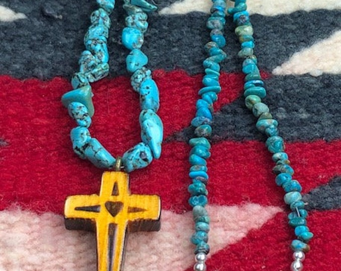 """Native American Graduated Turquoise & Carved Wood Cross Pendant Necklace , 19"""""""