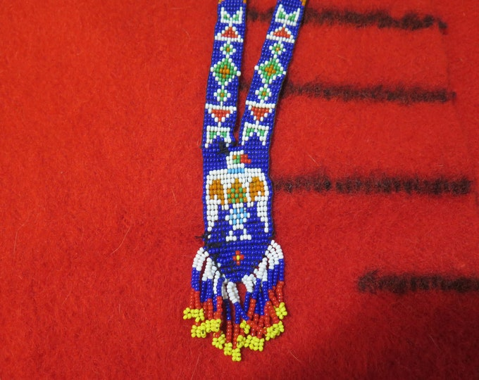 Vintage Native American Seed Bead Necklace Thunderbird Necklace