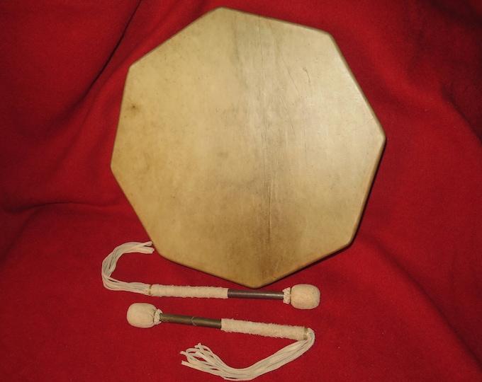 Native American 18 Inch or 16 inch Selected Elk Skin Rawhide 8 sided Sacred Cedar Wood Drum Spiritual Ceremonial and Shamic Healing