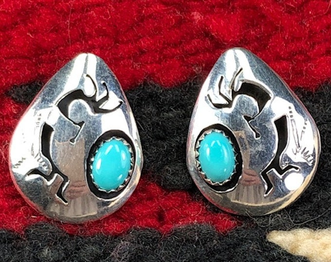 Hopi Kokopelli Beautiful Native American Sterling Silver Post Earrings, these Earrings are a hard find and truly one of a kind