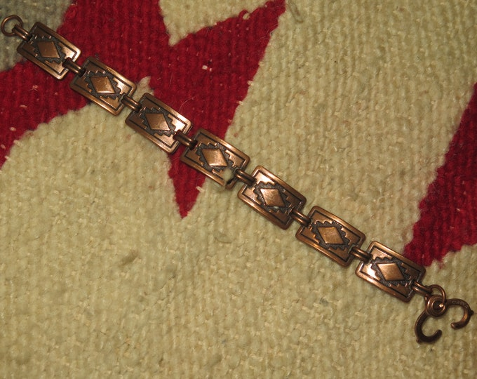 3 Native American solid copper bracelets stamped w/tribal designs Braided an Chained linked Tribal bracelets selling all 3 Bracelets