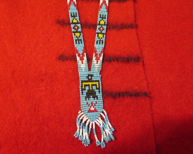 Vintage Native American Seed Bead Necklaces Thunderbird & Medallion