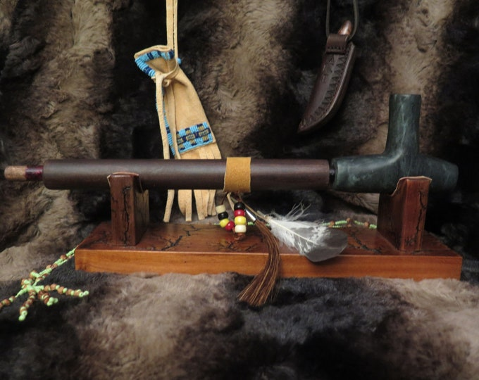 Native American Plains Indian Pipe Bowl & Stem Personal Ceremonial Pipestone Pipe and Decorated Pipe Stem and burl wood display stand