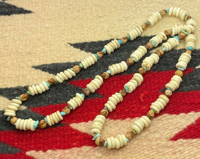 Native American made spiritual necklace beaded with genuine Turquoise nugget, Buffalo bone & Juniper beads (ghost beads )
