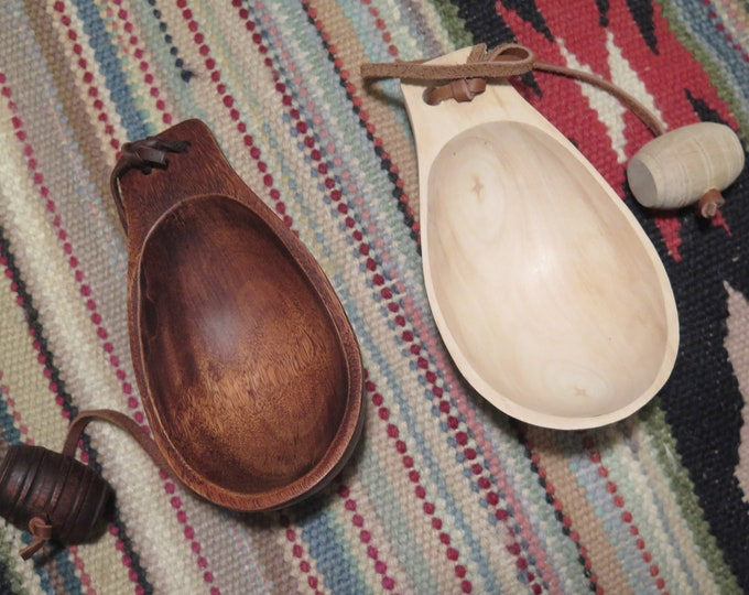 "Native American Museum Quality Canoe personal Cup Fur Trade Custom Made hand-carved Canoe Cup (aka ""Noggin""). Water Cup w/Belt Toggle"