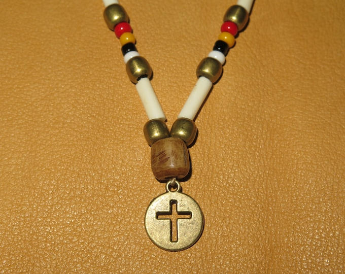 SALE-Native American 4 direction Beaded Antique Bronze Cross sinew laced glass seed beads adjustable to wear as a choker or as a necklace