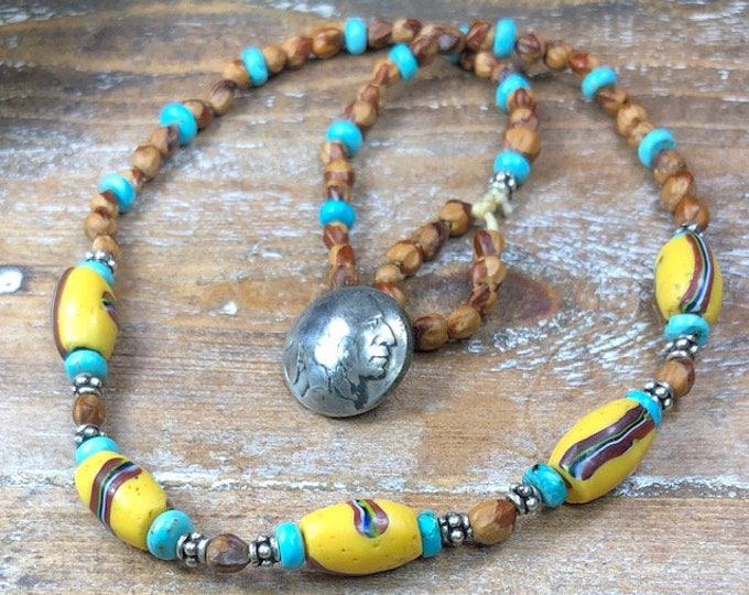 """Native American Inspired French Cross ,  Ghost Bead Juniper Berries Necklace , 19"""""""