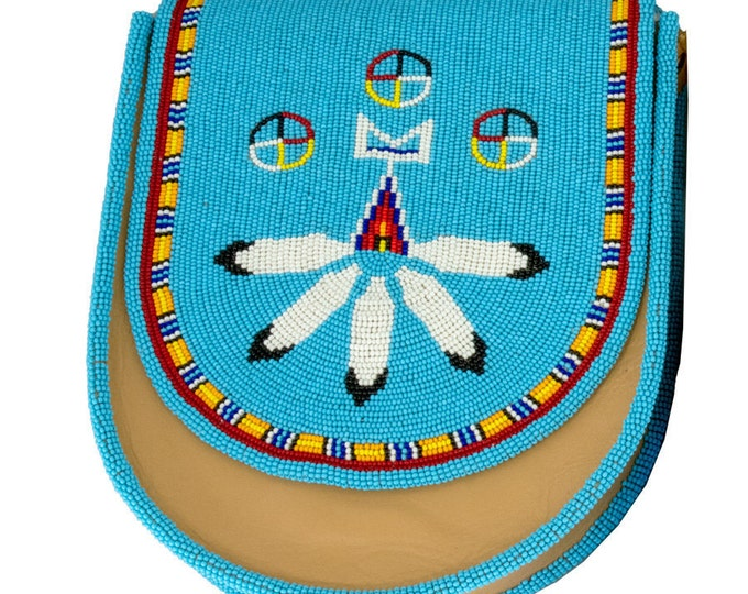 Native handmade and crafted by Indigenous People Light Blue and Red Medicine Wheel Design wBorder Shoulder Purse w-Fully Beaded Flap & Strap