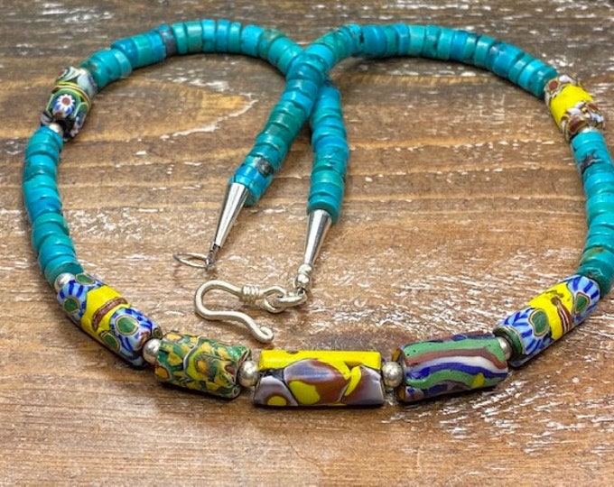 Native American made Jewelry Trade era Turquoise Heishi Beads old Antique Beads Venetian Millefiori Trade Bead Necklace Sterling Silver 19""