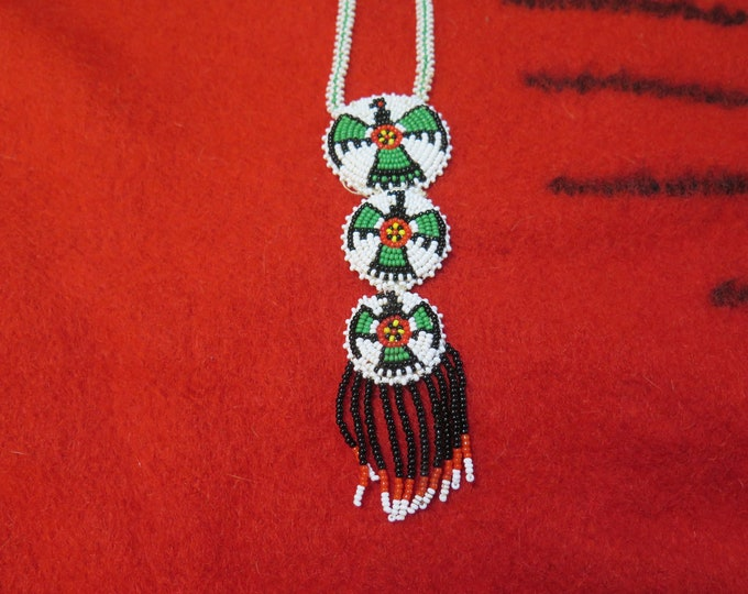 Vintage Native American Necklace THUNDERBIRD Medallion  seed bead Triple medallion First Nations Art Seed Beads Beaded On Loom Jewelry